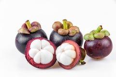 Regina dei frutti, mangostano dei mangostani su fondo bianco Immagine Stock Libera da Diritti