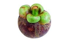 Regina dei mangostani dei frutti su bianco Fotografia Stock Libera da Diritti