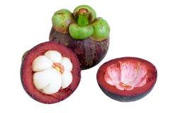 Regina dei mangostani dei frutti su bianco Fotografia Stock