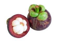 Regina dei mangostani dei frutti su bianco Immagine Stock Libera da Diritti