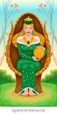 Regina dei pentacoli, carta di tarocchi Immagine Stock Libera da Diritti
