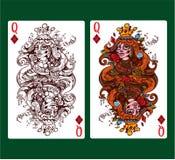 Regina del vestito della carta da gioco dei diamanti Fotografia Stock Libera da Diritti