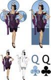 Regina dell'insieme di carta asiatico della mafia dell'attricetta dei club Fotografia Stock Libera da Diritti