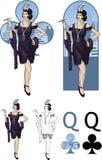 Regina dell'insieme di carta caucasico della mafia dell'attricetta dei club Fotografia Stock