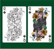 Regina della carta da gioco delle vanghe Immagine Stock