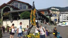 Regina della statua del freddie di Montreux immagini stock