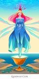 Regina delle tazze, carta di tarocchi Fotografia Stock