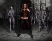 Regina diabolica della donna, illustrazione del castello Fotografie Stock