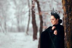 Regina diabolica in Forest Winter Wonderland magico fotografie stock libere da diritti