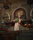 Regina egiziana antica nella stanza del trono, 3d CG illustrazione vettoriale