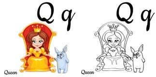 regina Lettera Q, pagina di coloritura di alfabeto di vettore Illustrazione di Stock
