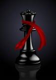 Regina nera di scacchi con una sciarpa di modo Fotografie Stock