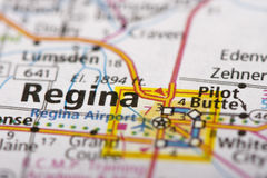 Regina, Saskatchewan on map. Closeup of Regina, Saskatchewan on a road map of Canada Royalty Free Stock Images