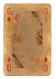 Regina sfregata usata antica della carta da gioco del fondo di carta dei diamanti Immagine Stock