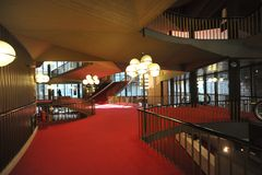 Regio theatre of Turin intern view of corridors and stairs. Design by Carlo Mollino Royalty Free Stock Image