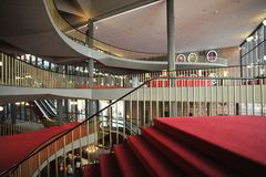 Regio theatre of Turin intern view of corridors and stairs. Design by Carlo Mollino Stock Images