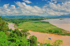 The region of the Golden Triangle, the view from Thailand to Burma. The Golden Triangle. Place on the Mekong River, which borders three countries - Thailand stock photo