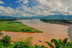 The region of the Golden Triangle, the view from Thailand to Burma. The Golden Triangle. Place on the Mekong River, which borders three countries - Thailand royalty free stock photos