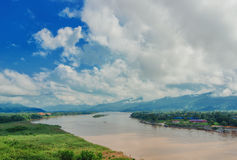 The region of the Golden Triangle, the view from Thailand to Burma. The Golden Triangle. Place on the Mekong River, which borders three countries - Thailand stock images