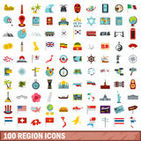 100 region icons set, flat style. 100 region icons set in flat style for any design vector illustration Royalty Free Stock Photo