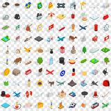 100 region icons set, isometric 3d style Royalty Free Stock Photos