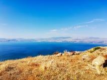 Region in Israel: Golan Heights, Galilee, Jordan Rift Valley. Sea of Galilee Hebrew: Kineret or Kinneret royalty free stock photos