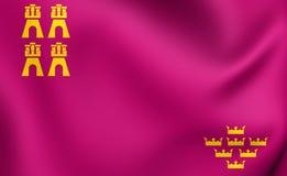 Region of Murcia Flag, Spain. Region of Murcia 3D Flag, Spain. Close Up Royalty Free Stock Photos