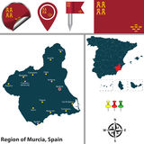 Region of Murcia, Spain. Vector map of Region of Murcia with flags and icons Royalty Free Stock Photos