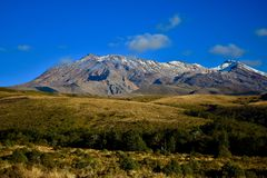 Ruapehu volcano at Tongariro National Park, New Zealand. This is a part of the Pacific Ring of Fire. stock photography