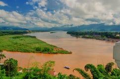 Region Złoty trójbok widok od Tajlandia Birma Zdjęcia Royalty Free
