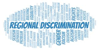 Regional Discrimination - type of discrimination - word cloud. Wordcloud made with text only vector illustration