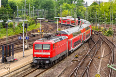 Regional express train in Hamburg Hauptbahnhof station Royalty Free Stock Photo