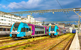 Regional express trains at Tours station Royalty Free Stock Image