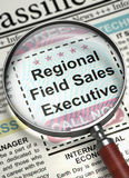 Regional Field Sales Executive Job Vacancy. 3D. Regional Field Sales Executive - Close Up View Of A Classifieds Through Magnifier. Regional Field Sales vector illustration