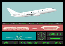 Regional jet and information display systems of airport. Stock Photos