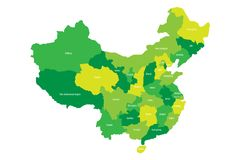 Regional map of administrative provinces of China.  Royalty Free Stock Photo