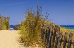 The Regional Natural Park Dune Costiere Torre Canne: fence between sea dunes. BRINDISI Apulia-ITALY-. The park, from Torre Canne to Torre San Leonado, covers the royalty free stock photography