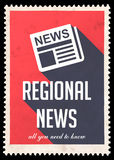 Regional News on Red in Flat Design. Stock Image