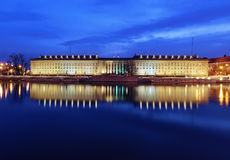 Regional Office and Odra river in Wroclaw, after sunset. Stock Image