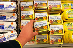 Regional produced dairy butter. MALMEDY, BELGIUM - MAY 2016: Ardennes butter in the refrigerated fresh products aisle of a Delhaize supermarket Stock Images