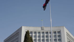 Regional State Administration Ternopil. Two Ukrainian flags on Regional Administration stock footage