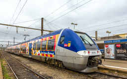 Regional train on hybrid power at Avignon station Stock Photography