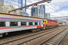 Regional train in the platform of Flinders Street Railway Station in Melbourne Stock Images