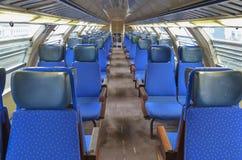 Regional train seats, Italy. Empty Regional train car , Italy Royalty Free Stock Photos