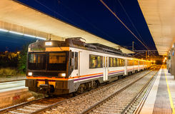 Regional train at Tudela de Navarra railway station - Spain Royalty Free Stock Photography