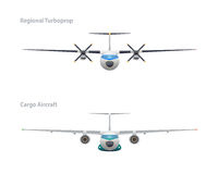 Regional turboprop and cargo aircraft Stock Photos
