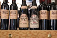Regional wines Valpolicella at a market stall. In Verona, Veneto, Italy royalty free stock photos