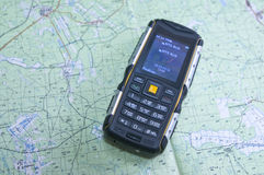 26 02 2016 regione della Russia, Sverdlovsk Su una mappa topografica di Sverdlovsk la regione è un alto livello del telefono cell Immagini Stock