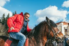 MOSCOW REGION, FRYAZINO, GREBNEVO ESTATE - MARCH 09 2019: Samy Naceri French star and actor of Taxi films mount a horse