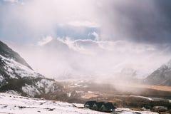 Regione di Mtskheta-Mtianeti, Georgia Le belle montagne georgiane abbelliscono nell'inverno Villaggio di Stepantsminda immagini stock libere da diritti